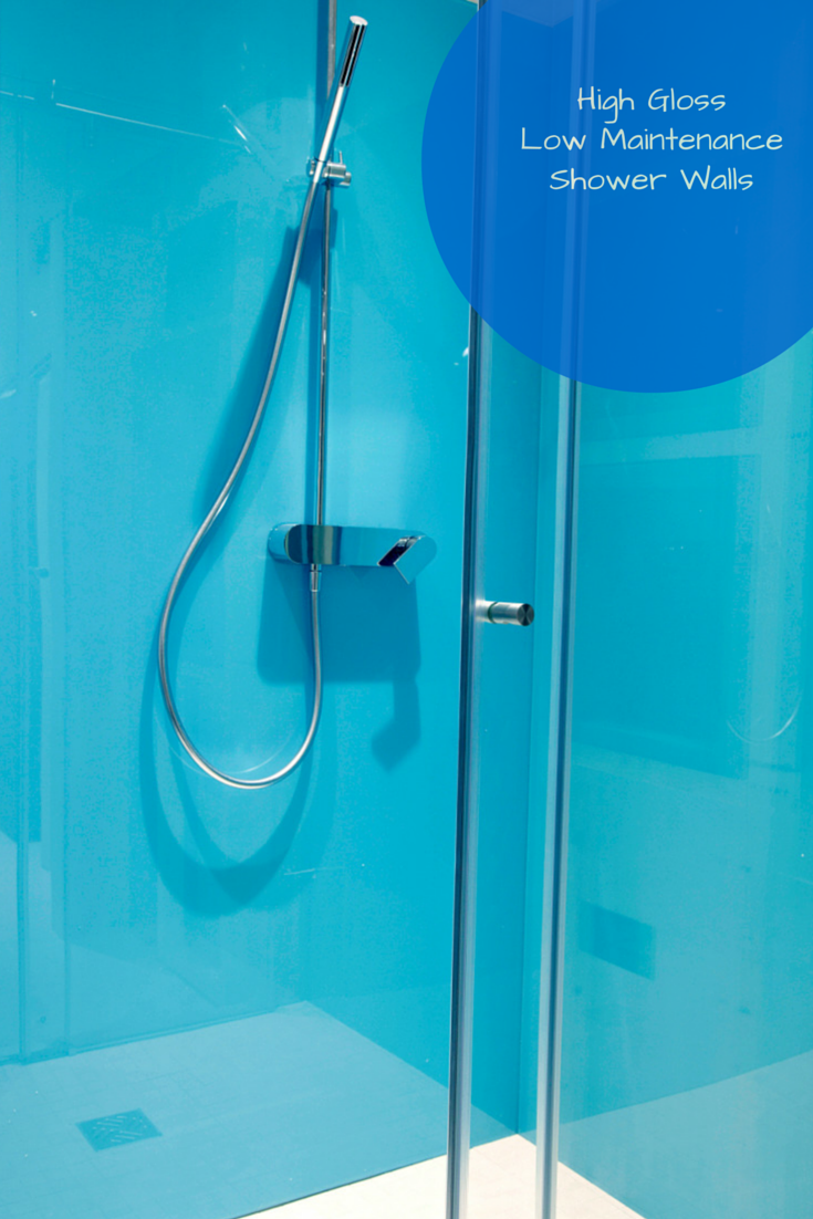 Euro inspired high gloss walls with contemporary chrome hand held shower | Innovate Building Solutions