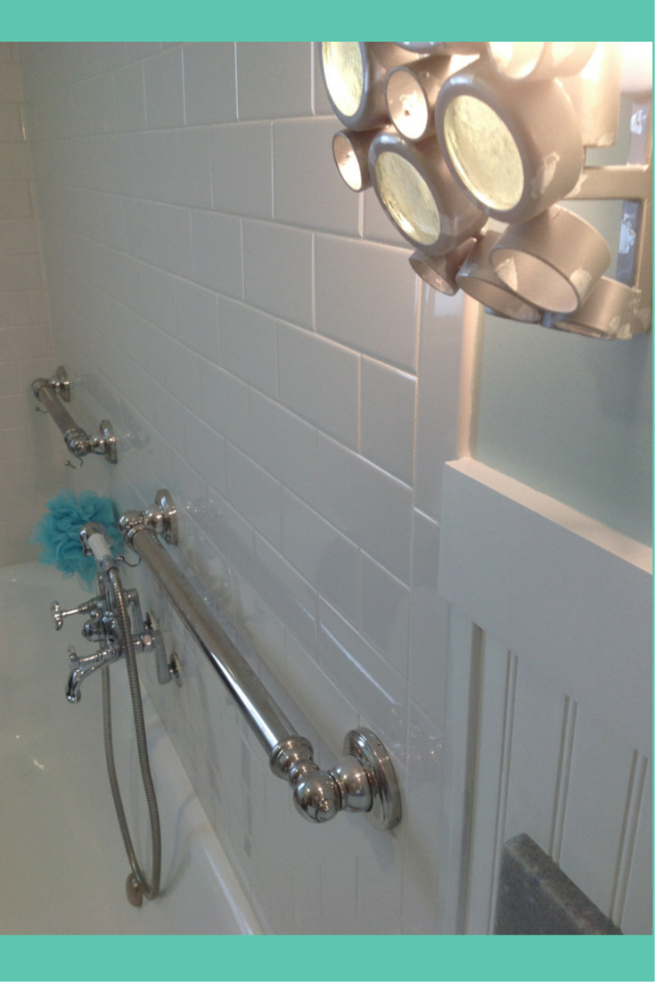 Subway tile in a cottage style bathroom in Cleveland Ohio