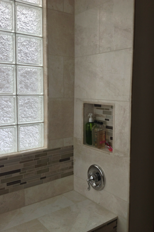 Put shower valve by opening for easy access
