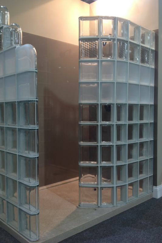 Modern and Contemporary glass block shower design with clear and frosted blocks