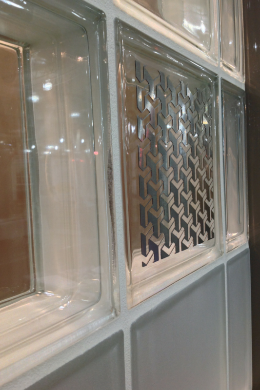 Modern Illuminara glass blocks with a stainless steel pattern