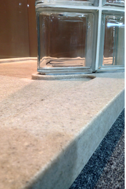 Modern low threshold solid surface shower base