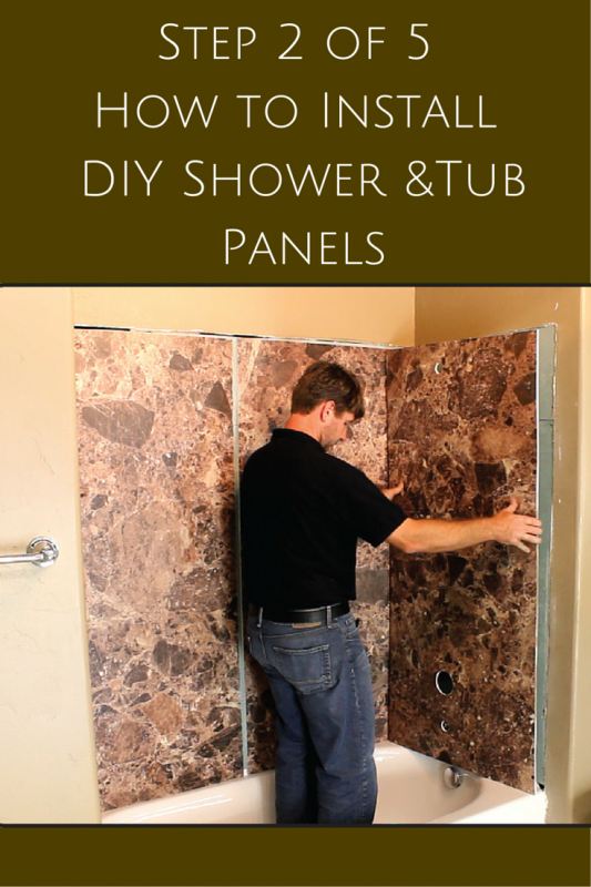Step 2 cutting DIY shower and tub wall panels