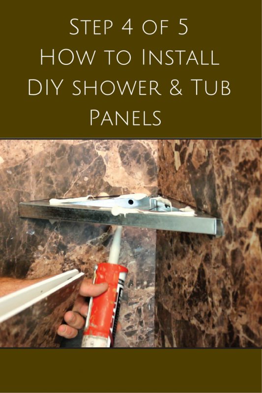 Step 4 installing corner shelves in DIY shower wall panel installation