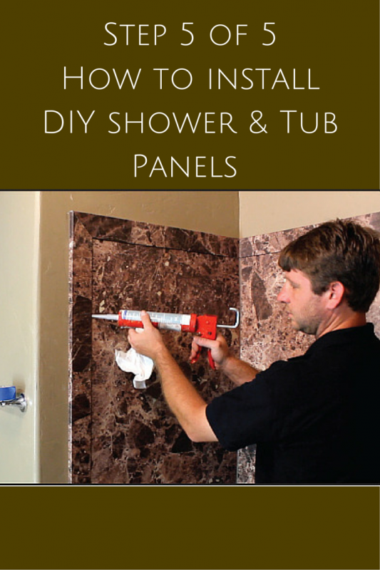 Step 5 add silicone sealant to DIY shower and tub wall panels