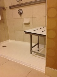 Fiberglass shower base in a handicapped room at DoubleTree hotel room in Worthington Ohio
