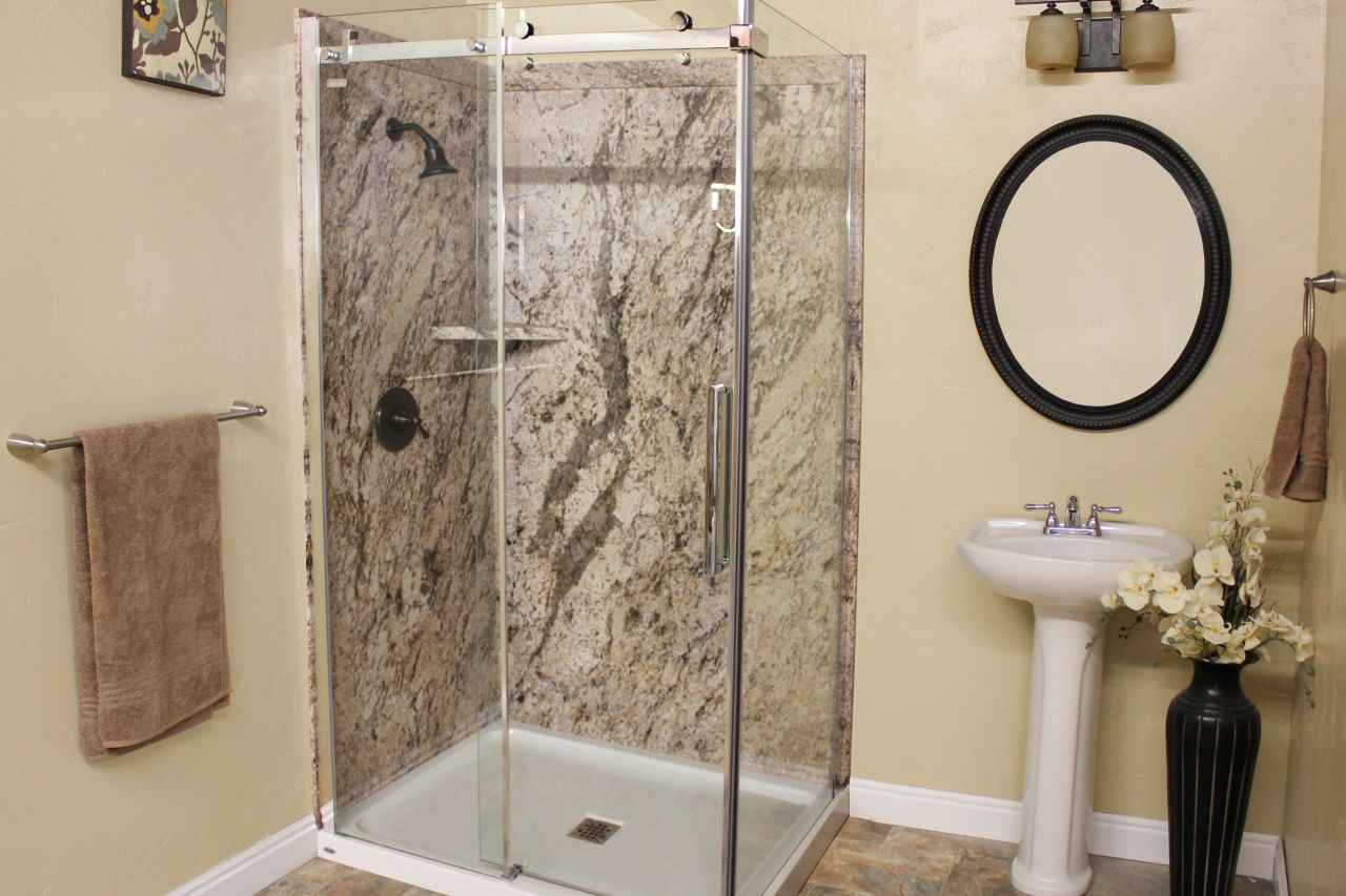Nice Golden Beaches DIY Shower Wall Panels With A Corner Shelf And Acrylic Base  48 X 36