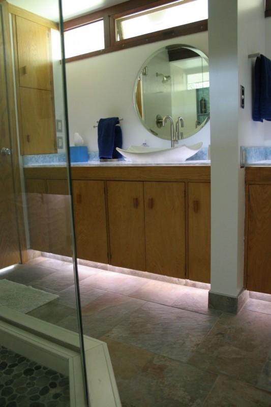 Remodeled master bathroom in Usonian Frank Lloyd Wright Home Fresno California