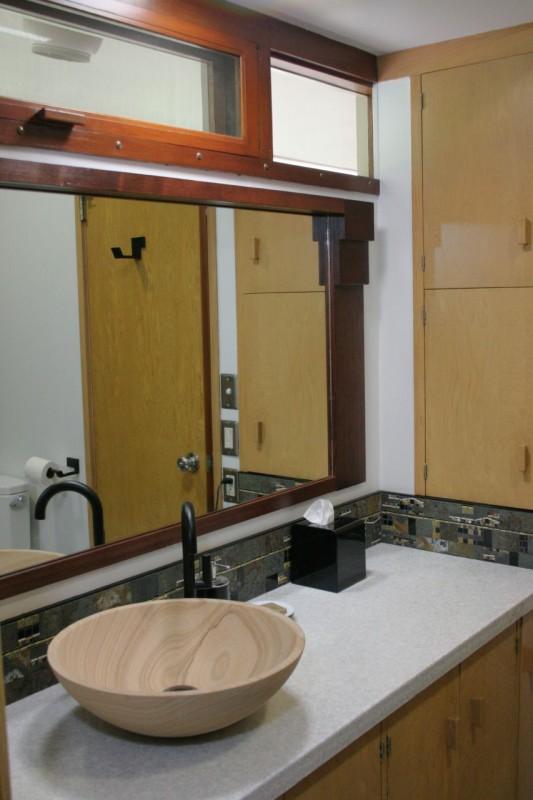 Guest bathroom remodel in Usonian Frank Lloyd Wright Home in Fresno California