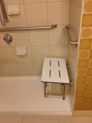 Institutional looking grab bars in a worthington ohio accessible shower at Doubletree Hotels