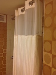 Shower curtains in DoublTree hotel room in Worthington Ohio