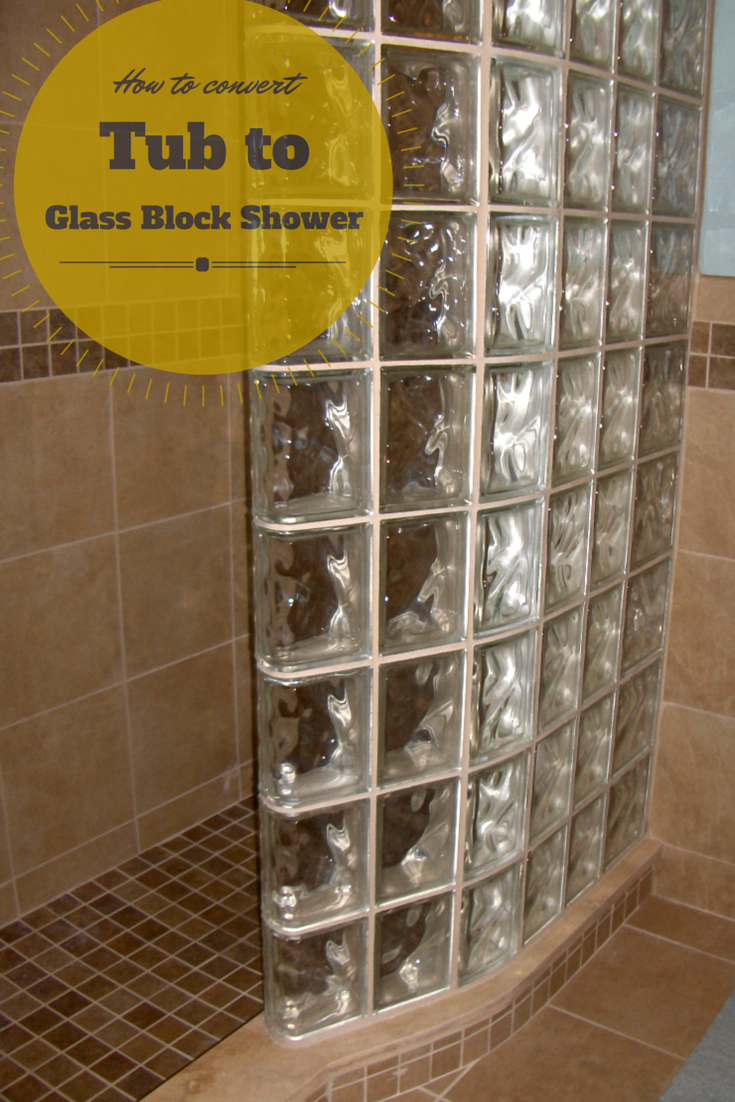 A curved glass block shower wall for a tub to shower conversion| Innovate Building Solutions