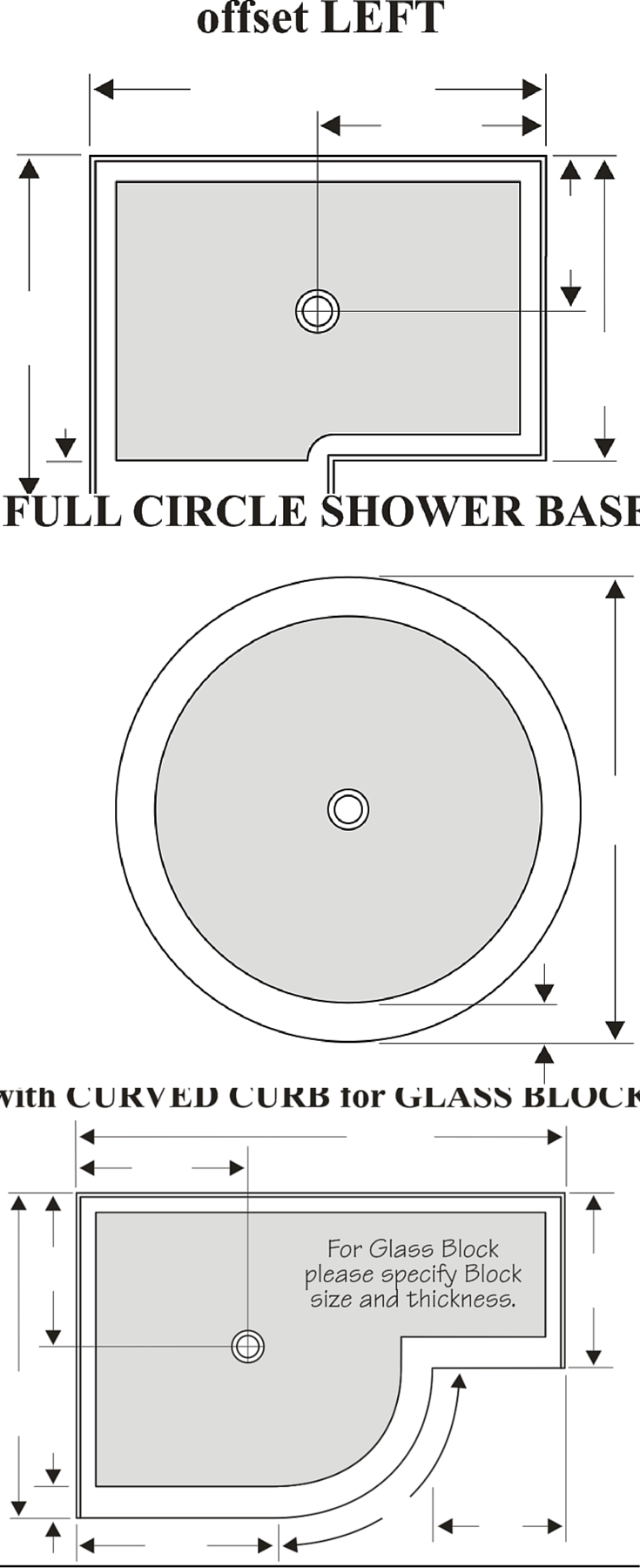 Solid surface and cultured granite shower pans can be round angled or even have an offset design for a walk in shower | Innovate Building Solutions