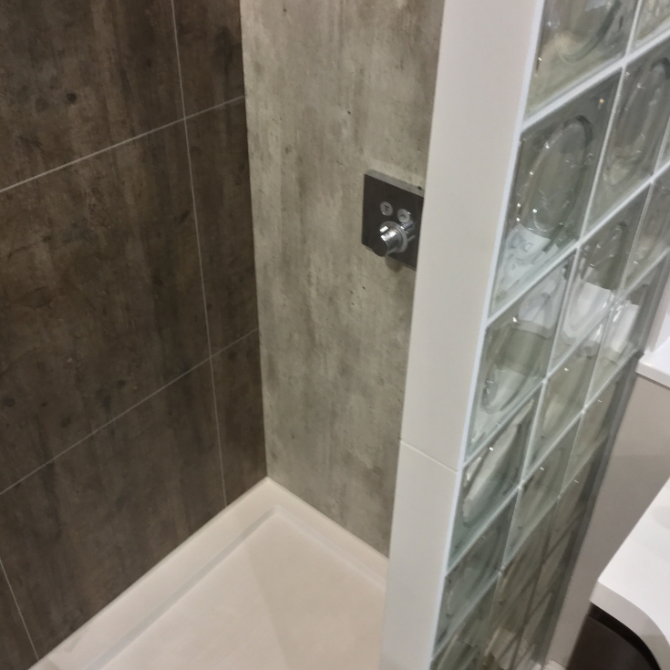 Laminated shower panels with circular focus contemporary glass block wall