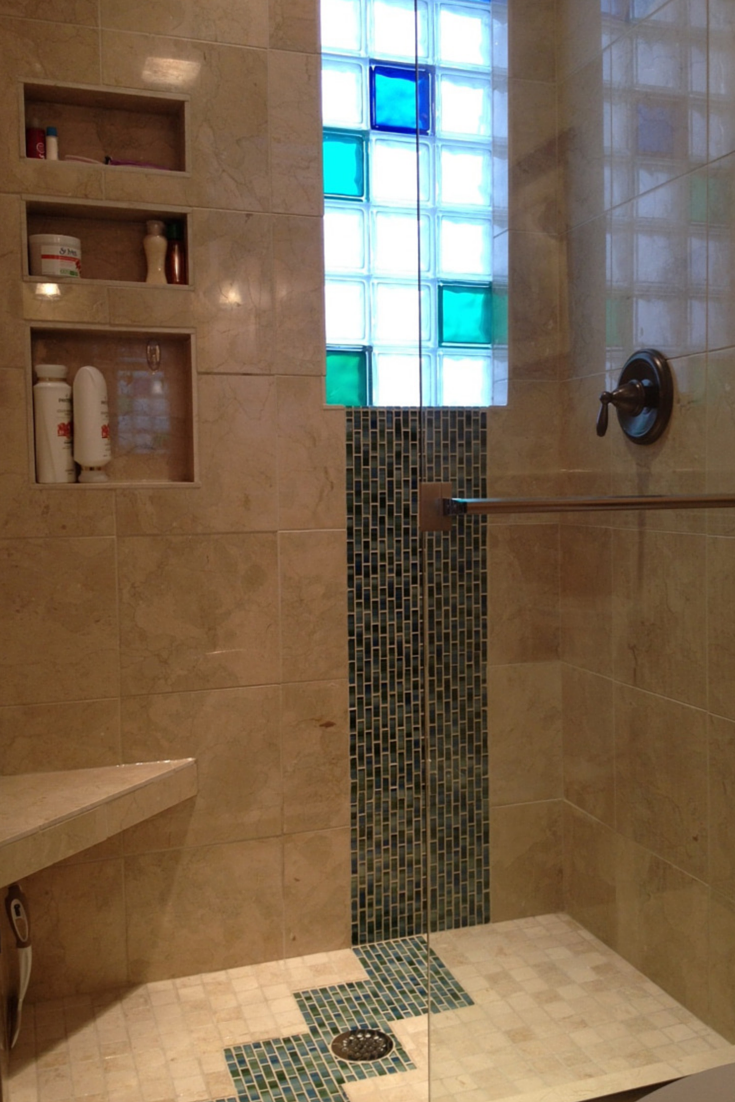 Colored glass block window small bathroom | Innovate Building Solutions