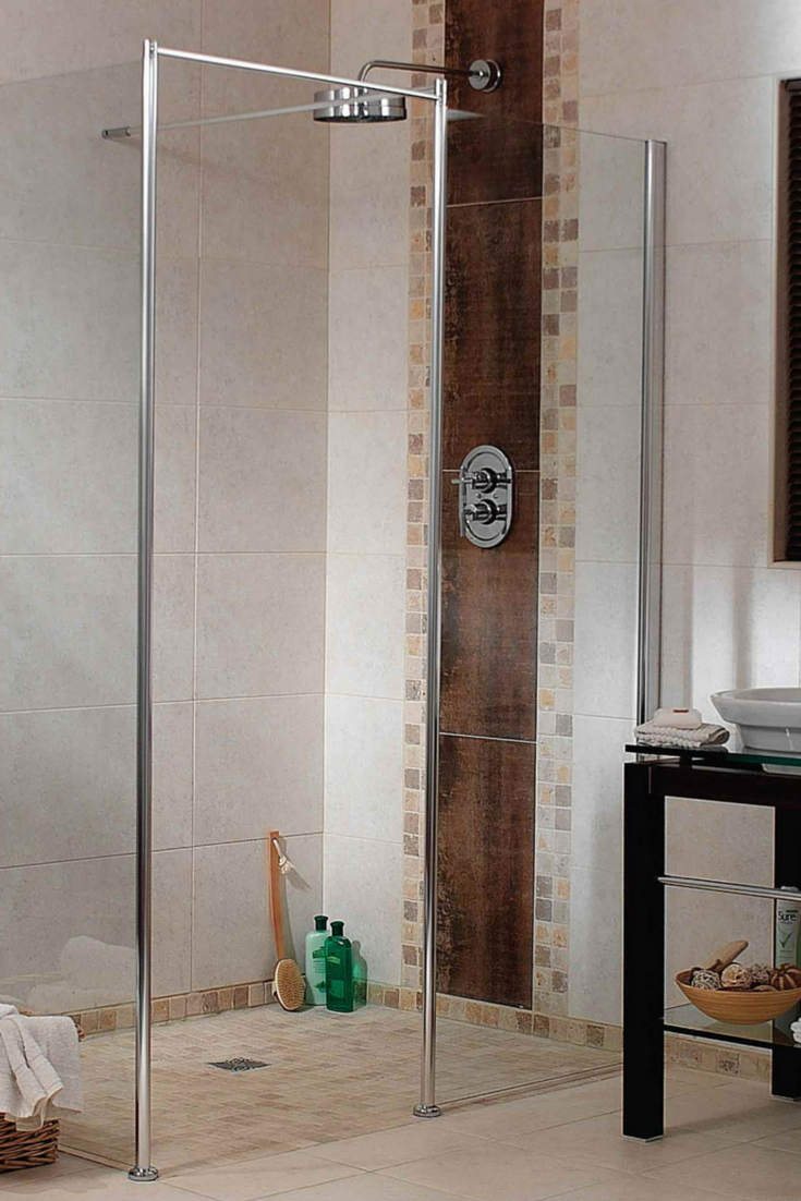 A one level wet room shower system in a small bathroom with a Euro design | Innovate Building Solutions