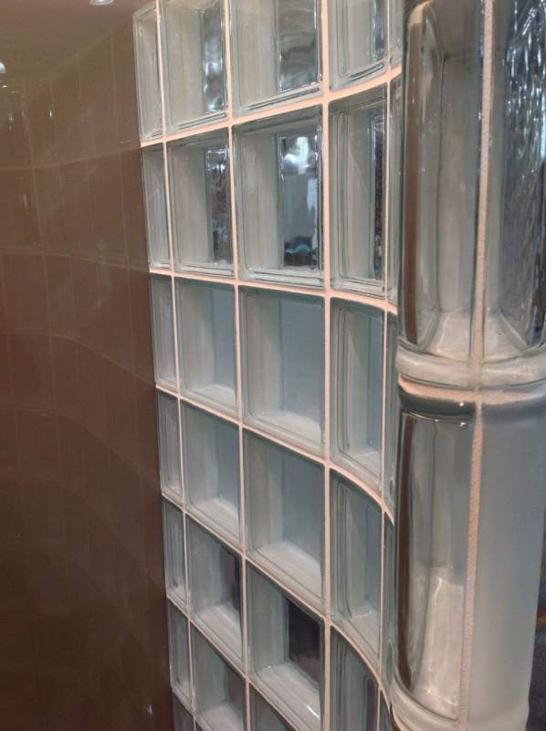 thinner glass block shower wall