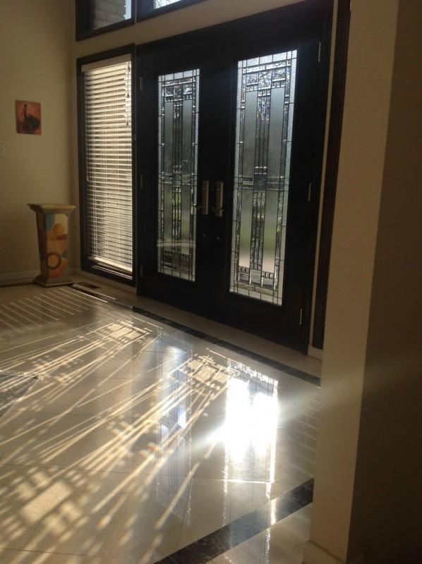 Fiberglass front entry doors with decorative glass