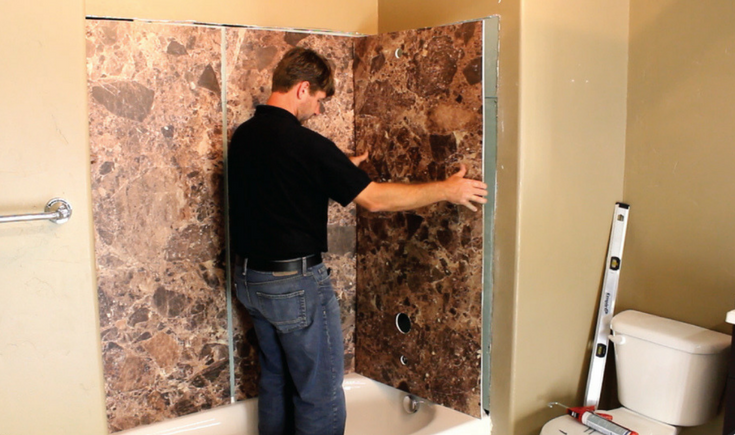 DIY faux stone tub panel installation can be done without special tools | Innovate Building Solutions