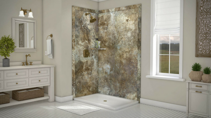 Decorative DIY Faux Stone Shower Wall Panels In A 48 X 36 Corner Shower  Stall |