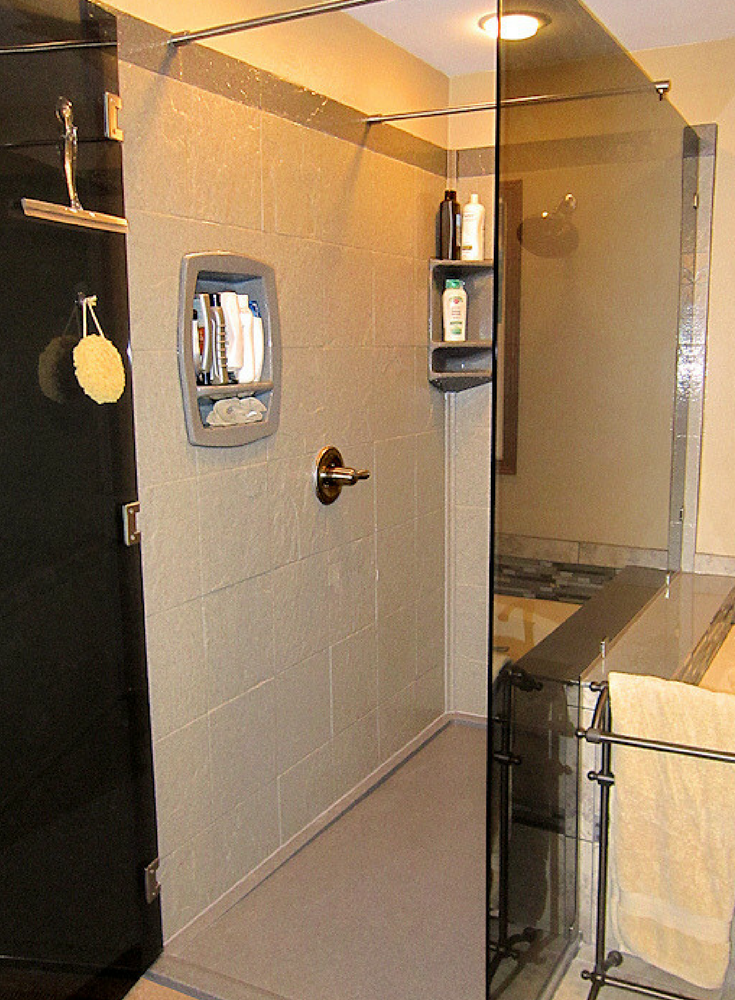 Long stone tile faux shower wall panels for a custom shower with a wall greater than 60 inches | Innovate Building Solutions