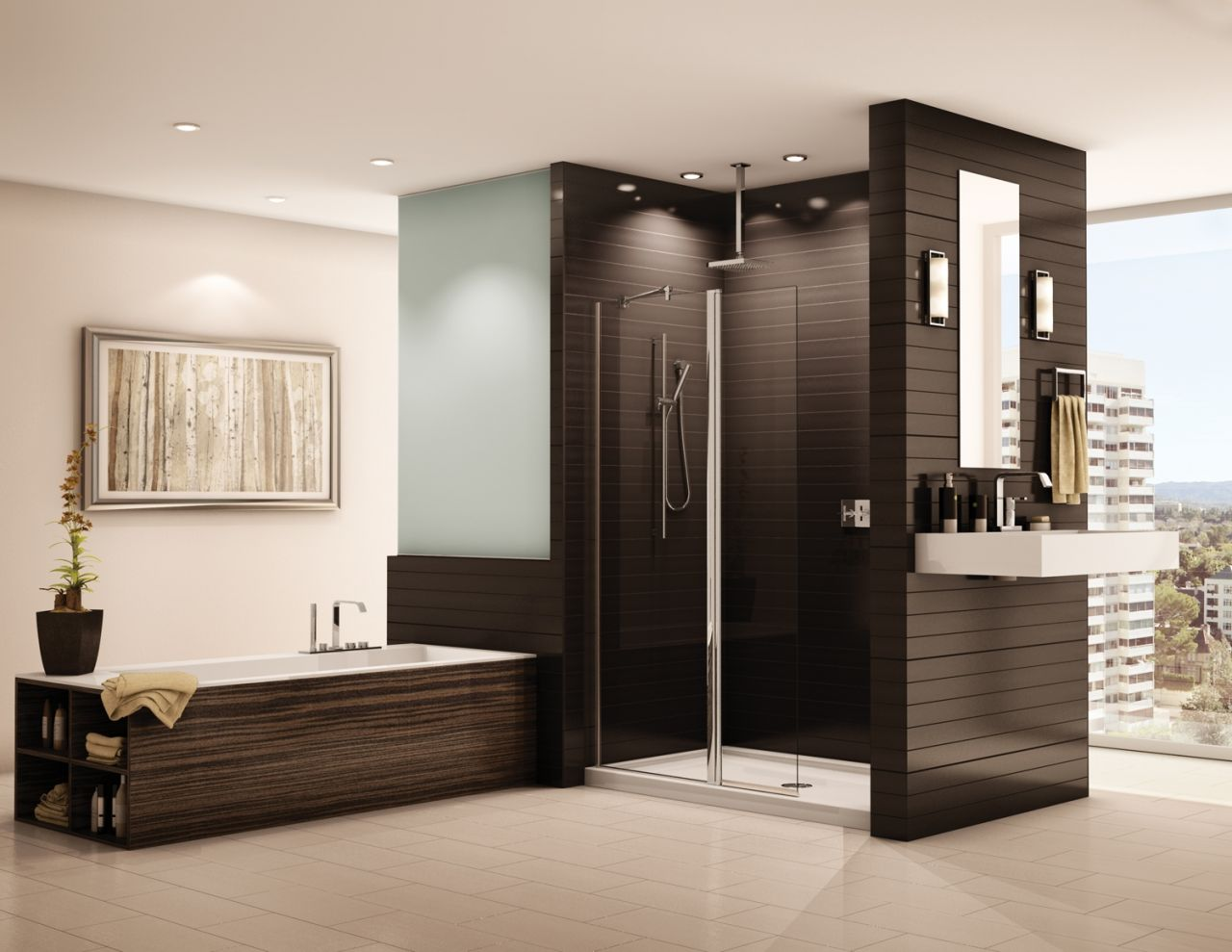 Semi-frameless in line pivot shower screen with rectangular acrylic pan in a contemporary bathroom