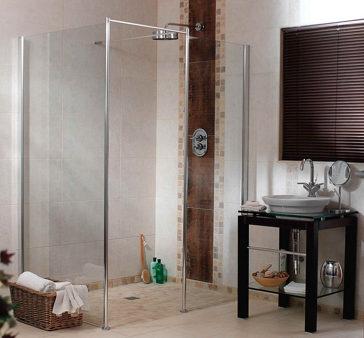 One level wet room system to make a 4' wide walk in or roll in shower