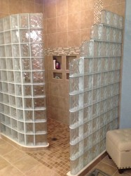 72 x 48 glass block shower walls and a ready for tile base kit