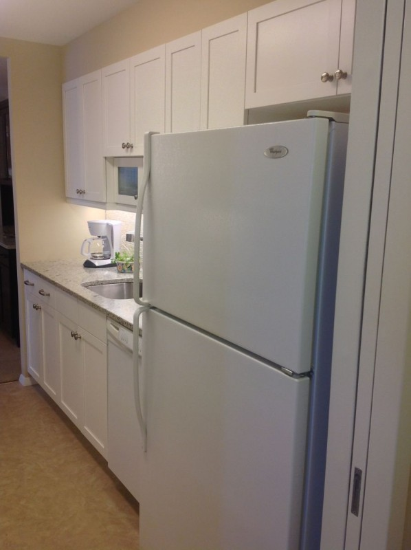 under cabinet lighting in a galley style kitchen in lakewood ohio high rise