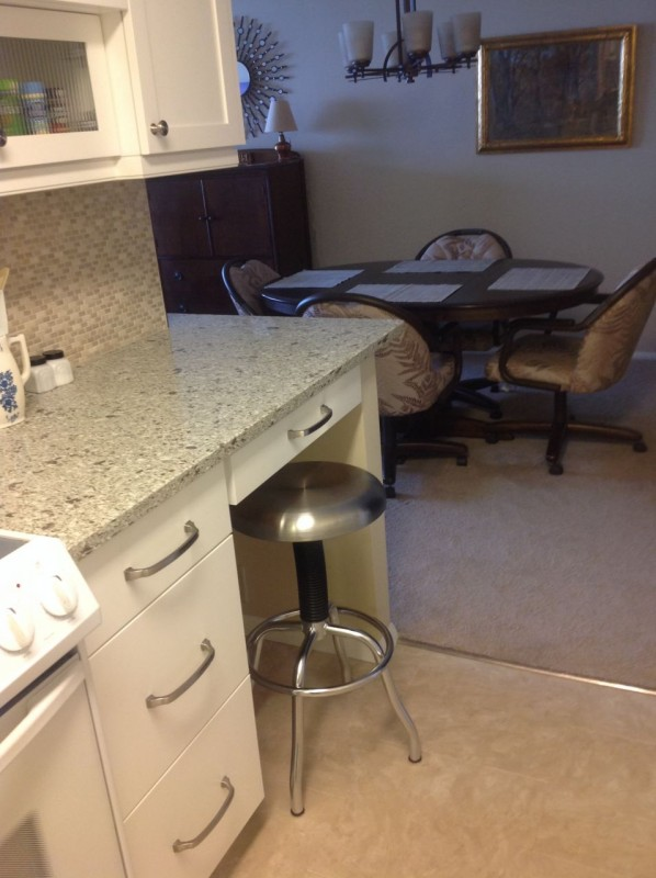 Multi-purpose desk and eating area in a galley kitchen cleveland ohio