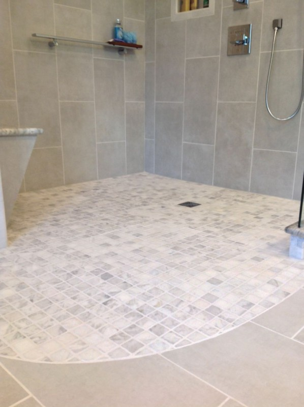 One level wet room design in a cleveland bathroom