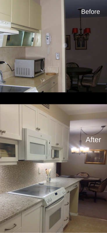 Galley style kitchen in lakewood in a high rise before and after