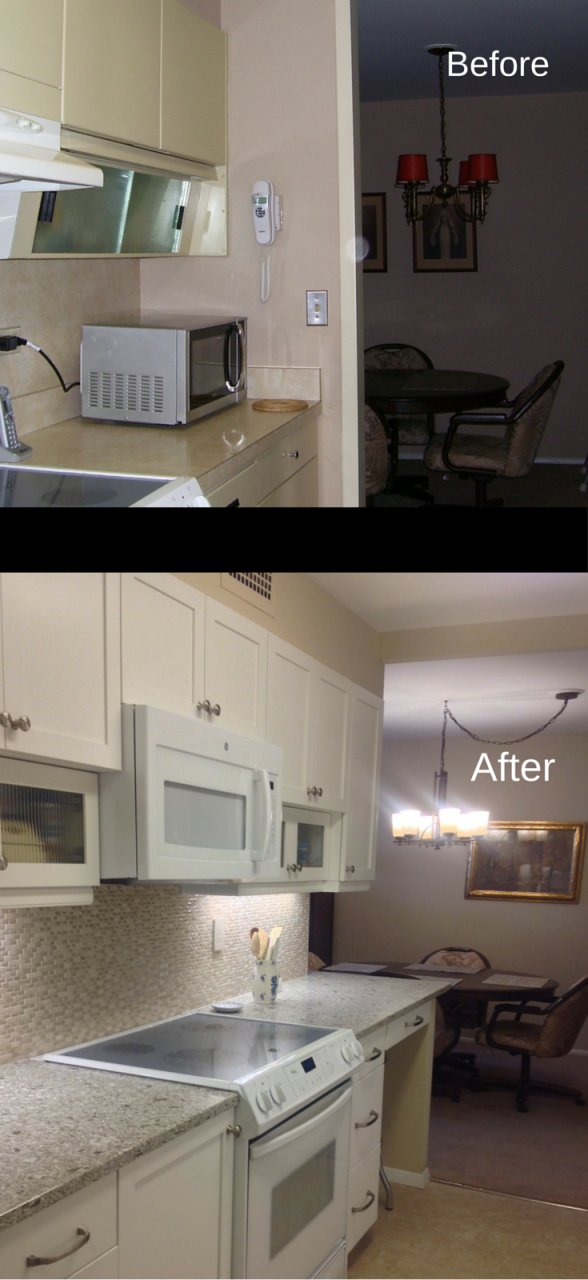The 3 i s of a high rise condo remodel ingenuity for Opening up a galley kitchen before and after