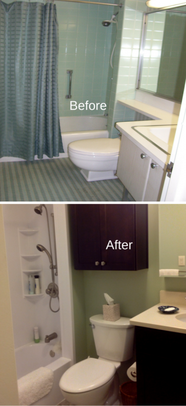 Before and after low toilet vs. standard height toilet