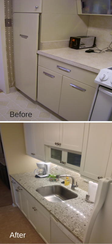 Improved counter space in a Lakewood ohio high rise remodeling project