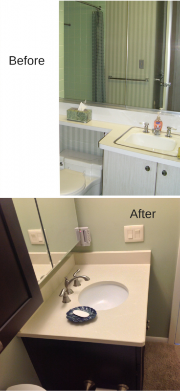 Heavy mirrors replaced by mirrored medicine cabinets in lakewood ohio remodel