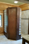 Master Bathroom Design – Contemporary Meets Rustic in a Log Home
