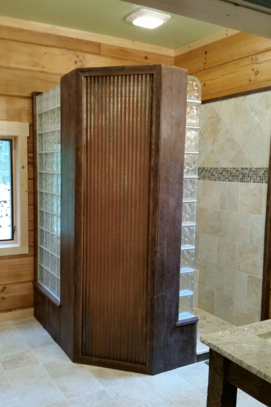 NEO angle glass block shower in a log home in PA