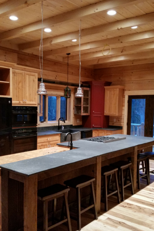 Soapstone countertops in a log cabin home in Quakertown Pennsylvania
