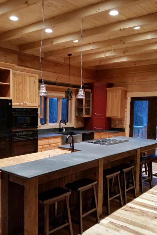 Soapstone countertops in a log cabin home in Quakertown Pennsylvania
