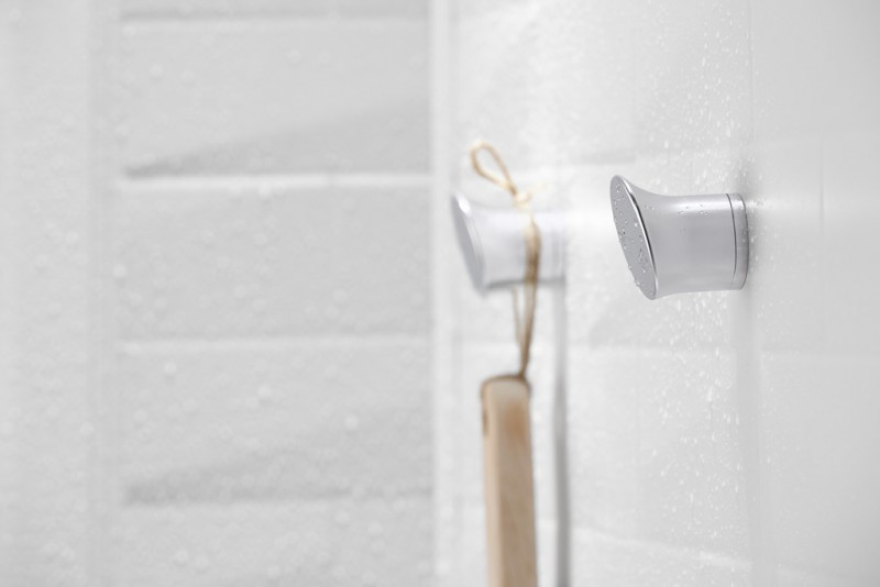 Shower hook in luxury shower wall panel system
