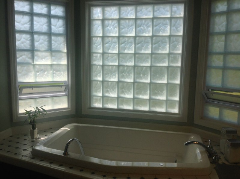 Frosted glass block bay window