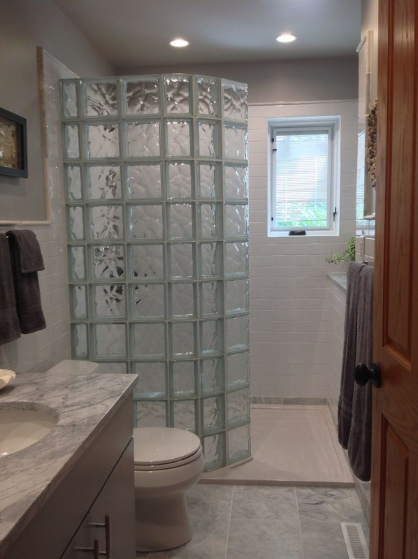 Walk in shower with glass blocks in a guest bathroom remodel in Columbus Ohio