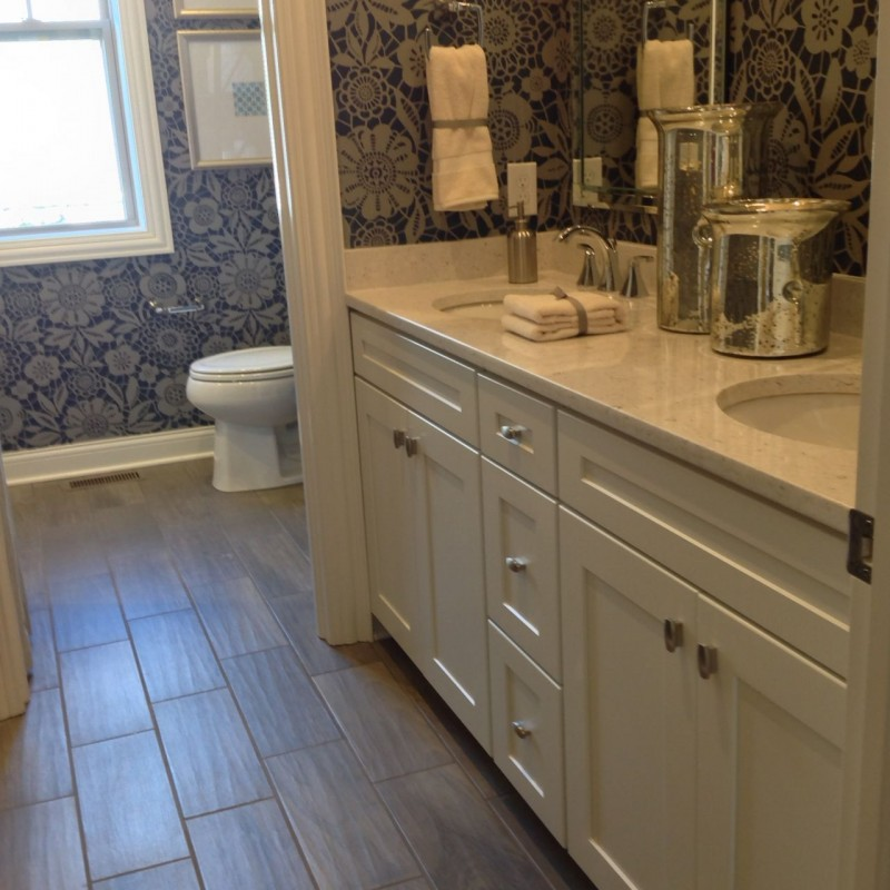 Ceramic floors in a bathroom which look like wood at Columbus Parade of Homes
