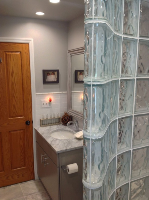 Puck lighting in a guest bathroom with a walk  in glass block curved wall