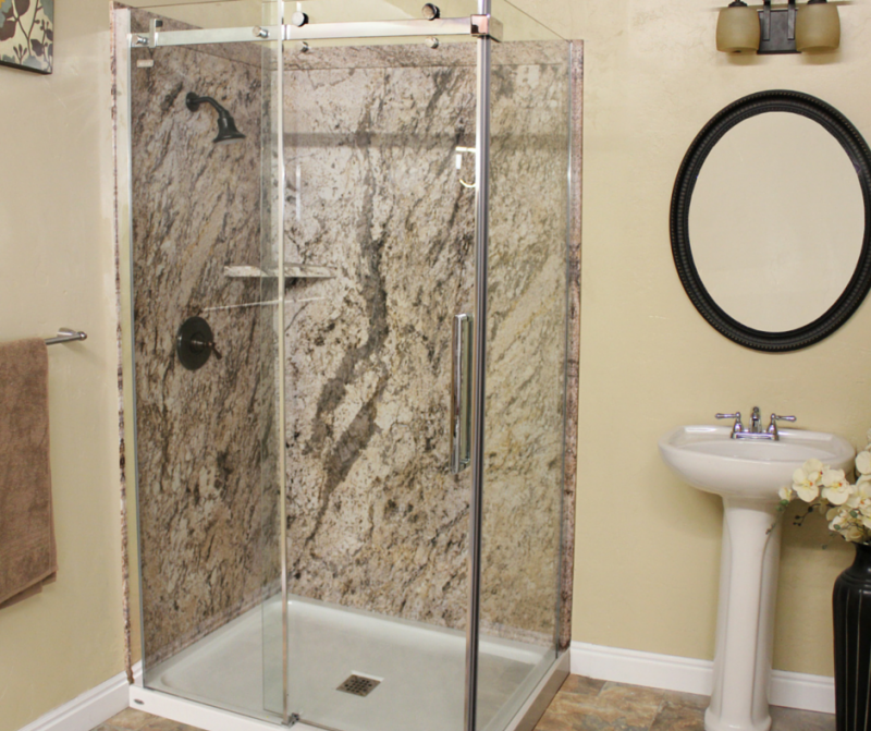 Stone look grout free shower panels