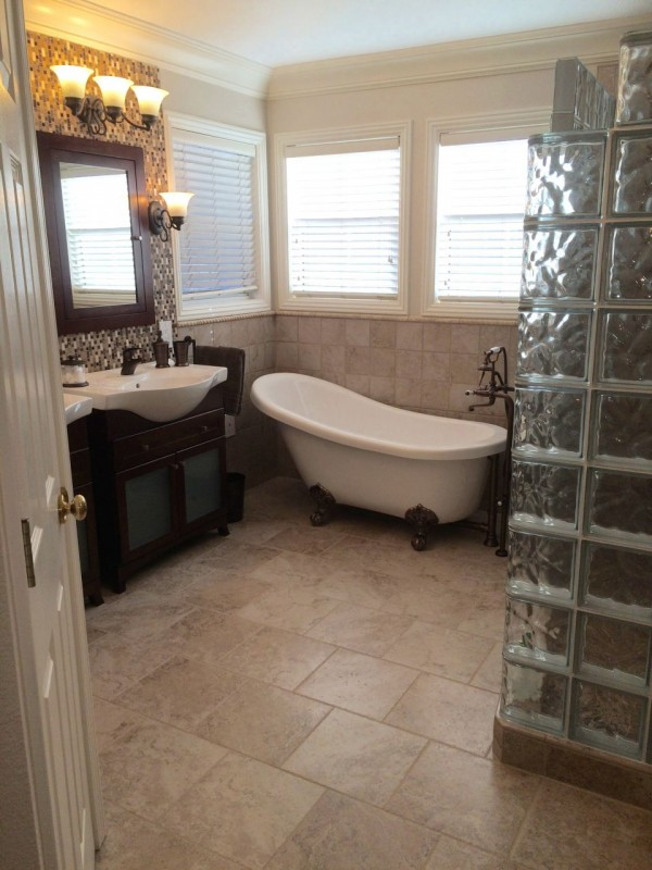 Master bath remodeling with a glass block walk in shower in Martinez California