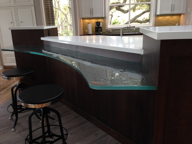 Glass island bar countertop with a textured surface
