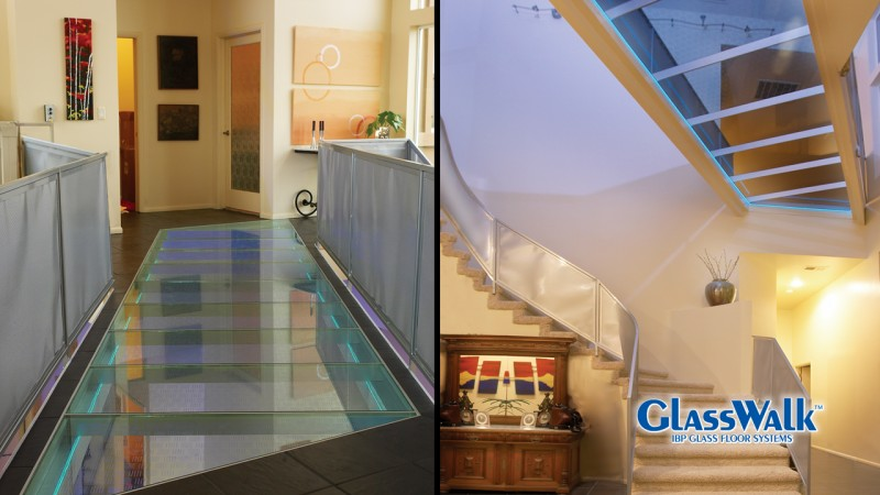 Different size and shape glass floor panels