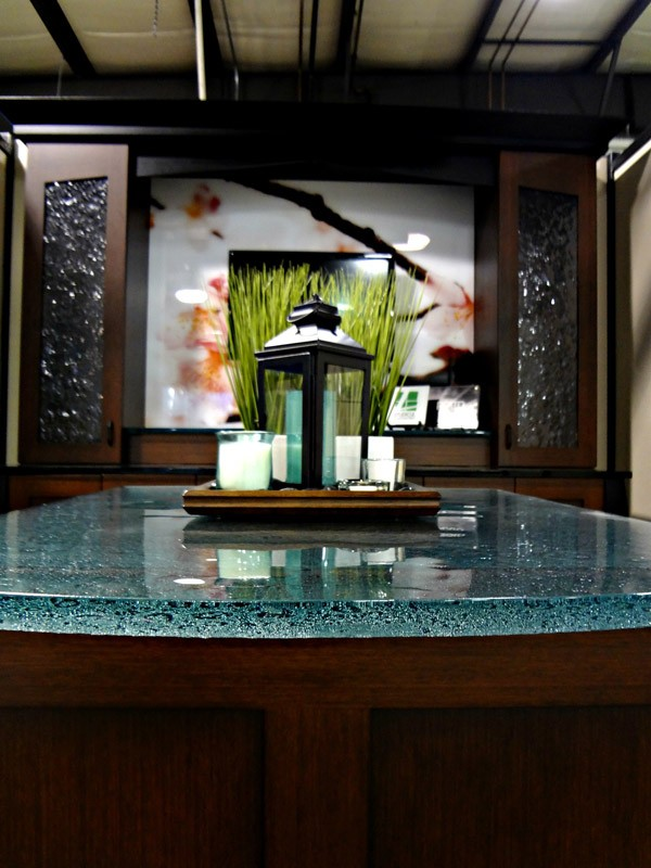 Cast glass dining room countertop with a textured bottom surface